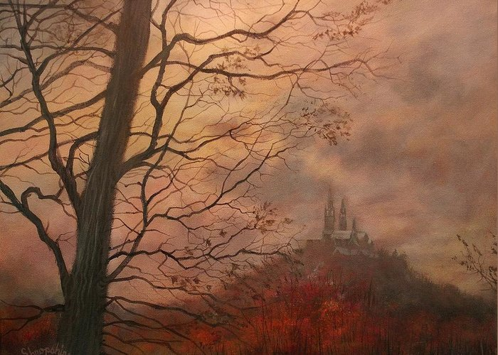 Holy Hill Greeting Card featuring the painting October At Holy Hill by Tom Shropshire