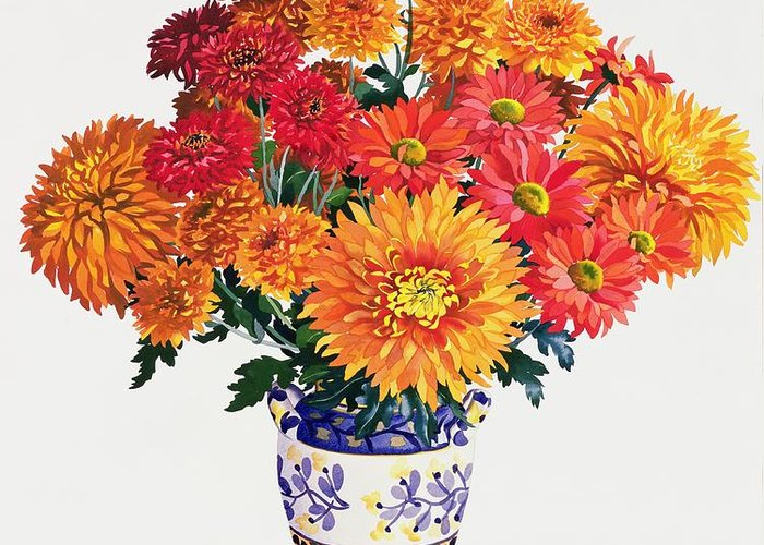 Chrysanthemum Greeting Card featuring the painting October Chrysanthemums by Christopher Ryland