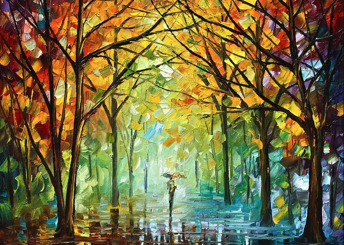 Forest Greeting Card featuring the painting October In The Forest by Leonid Afremov