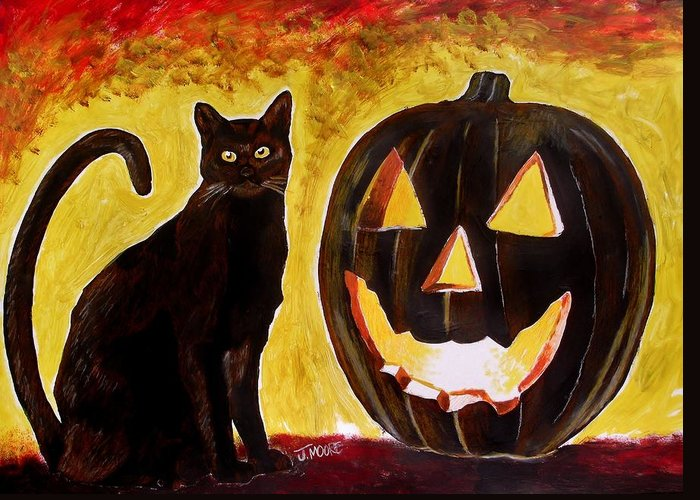 Halloween Greeting Card featuring the painting October by Jeremy Moore