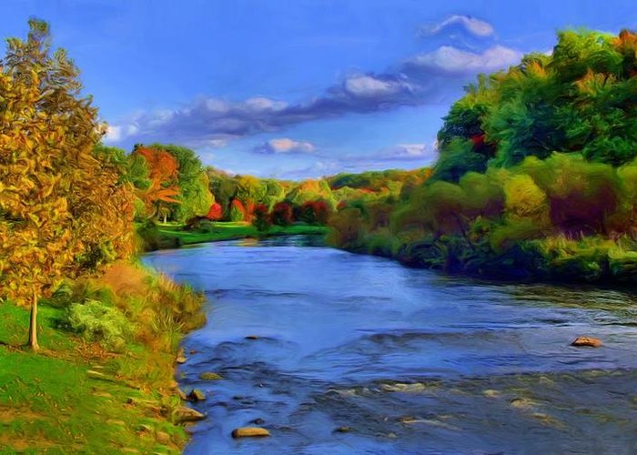 Landscape Greeting Card featuring the painting October On The Cuyahoga by Dennis Lundell