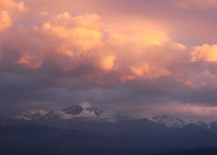 Sunset Greeting Card featuring the photograph October Sunset Over Longs Peak by Margaret Bobb