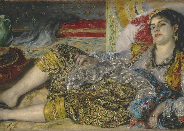 Algerian; Woman; Orientalist; Impressionist; Female; Exotic; North; African; Harem; Concubine; Costume Greeting Card featuring the painting Odalisque by Pierre Auguste Renoir