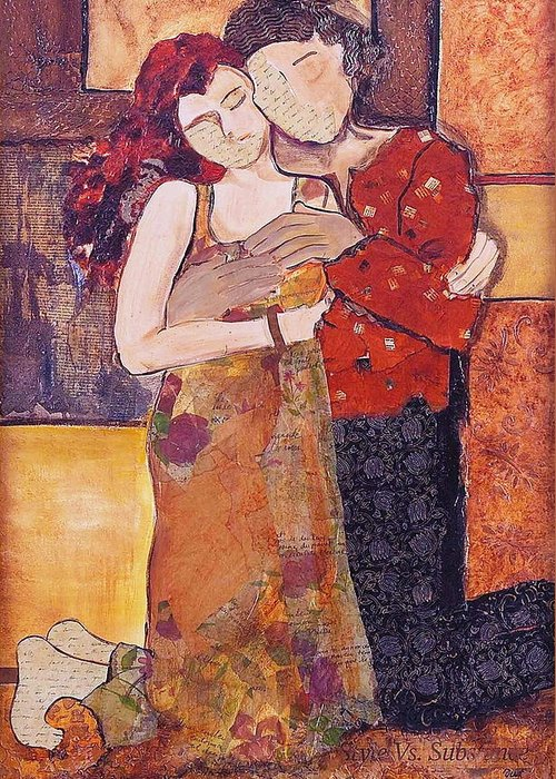 Man Greeting Card featuring the painting Ode To Klimt by Debi Starr