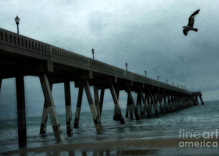Ocean Photography Greeting Card featuring the photograph Oean Pier - Surreal Stormy Blue Pier Beach Ocean Fishing Pier With Seagull by Kathy Fornal