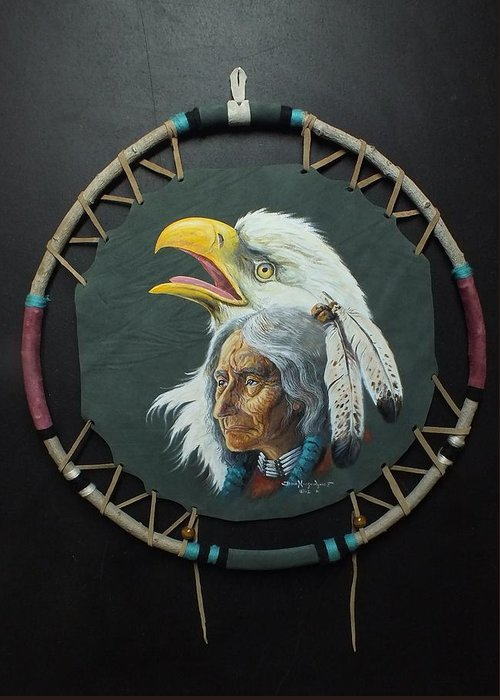 Portrait Of A Native American Greeting Card featuring the painting Of The Eagle Clan by Don Ningewance