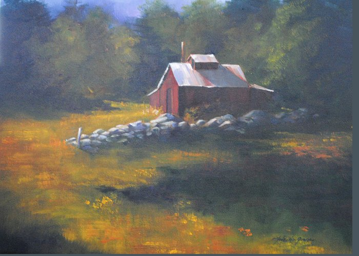 Maple Sugar House Greeting Card featuring the painting Off Season by Christine Hodecker-George