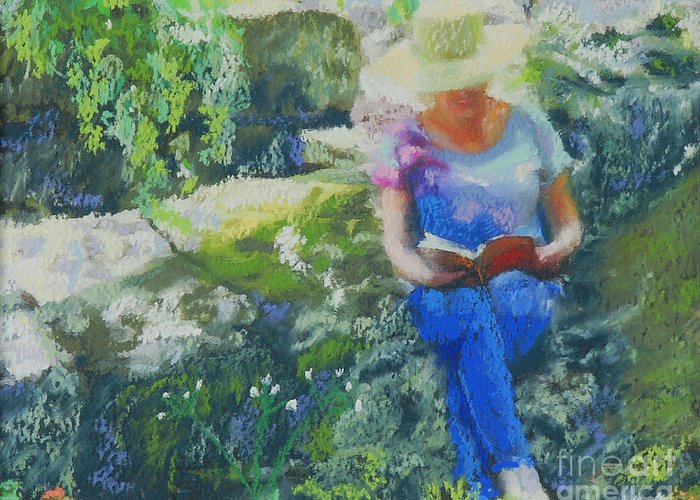 Portrait Greeting Card featuring the painting Off The Rugged Trail by Patricia Collins-Perkey