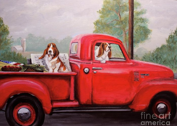 Dog Greeting Card featuring the painting Off To Market by Holly Connors