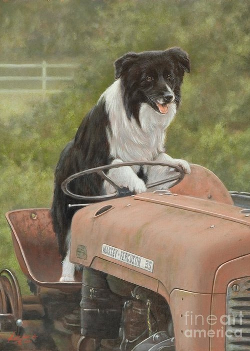 Dog Paintings Greeting Card featuring the painting Off To Work II by John Silver