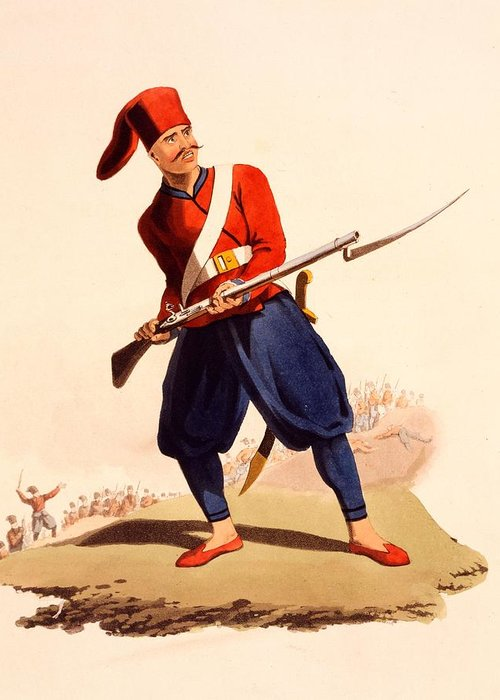 Officer Of European Infantry Of Ottoman Army Greeting Card featuring the drawing Officer Of European Infantry Of Ottoman by Thomas Charles Wageman