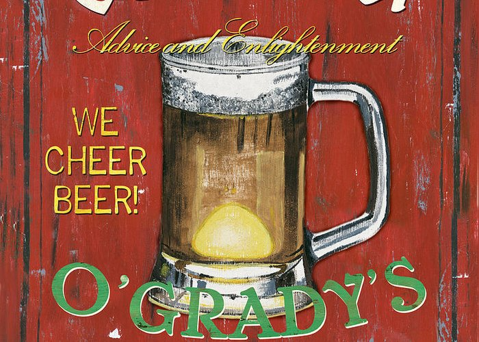Pub Greeting Card featuring the painting O'grady's Pub by Debbie DeWitt