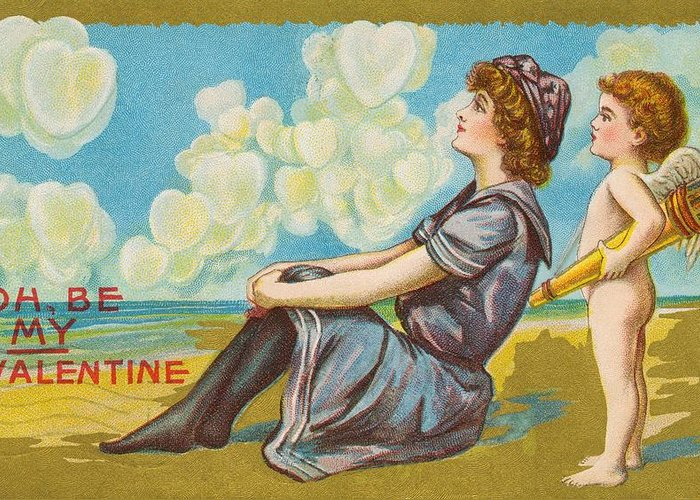Romantic Greeting Card featuring the painting Oh Be My Valentine Postcard by American School