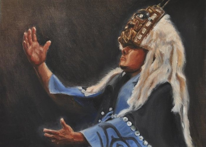 Native American Art Greeting Card featuring the painting Oh Great Creator by Tahirih Goffic