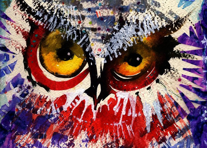 Owl Greeting Card featuring the painting Oh Hush by Laurel Bahe