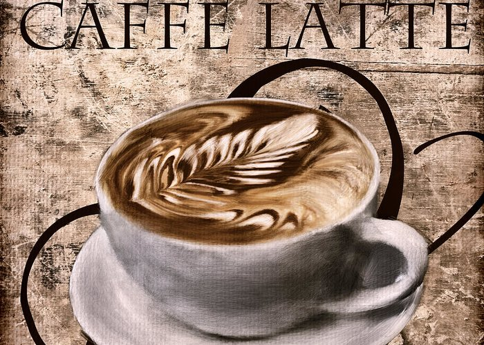 Coffee Greeting Card featuring the digital art Oh My Latte by Lourry Legarde