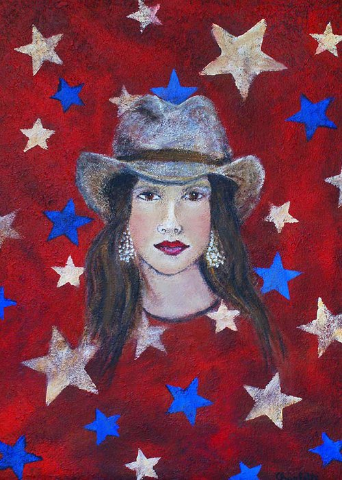 Stars Greeting Card featuring the painting Oh Suzannah by The Art With A Heart By Charlotte Phillips