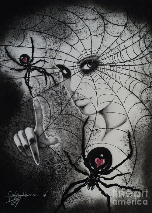 Spider Greeting Card featuring the drawing Oh What Tangled Webs We Weave by Carla Carson