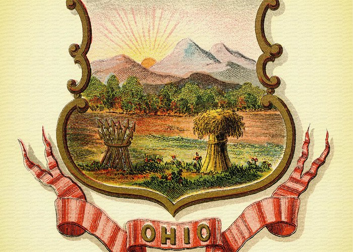 Lithograph Greeting Card featuring the photograph Ohio Coat Of Arms - 1876 by Mountain Dreams