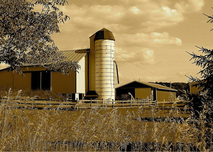 Farm Greeting Card featuring the photograph Ohio Farm In Sepia by Frozen in Time Fine Art Photography