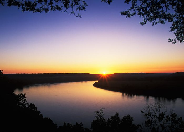 Background Greeting Card featuring the photograph Ohio River At Sunrise by David Davis