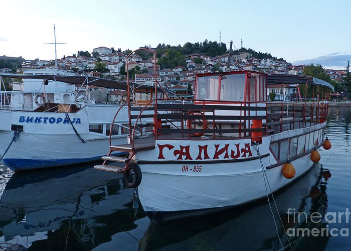 Ohrid Greeting Card featuring the photograph Ohrid Harbour - Macedonia by Phil Banks