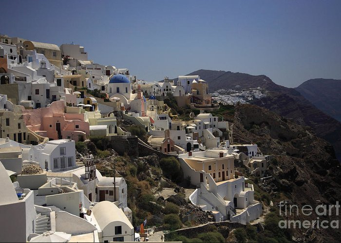 Aegean Greeting Card featuring the photograph Oia By Day by Deborah Benbrook