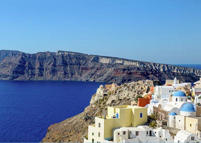 Scenics Greeting Card featuring the photograph Oia Panoramic, Santorini, Greece by Chrishepburn