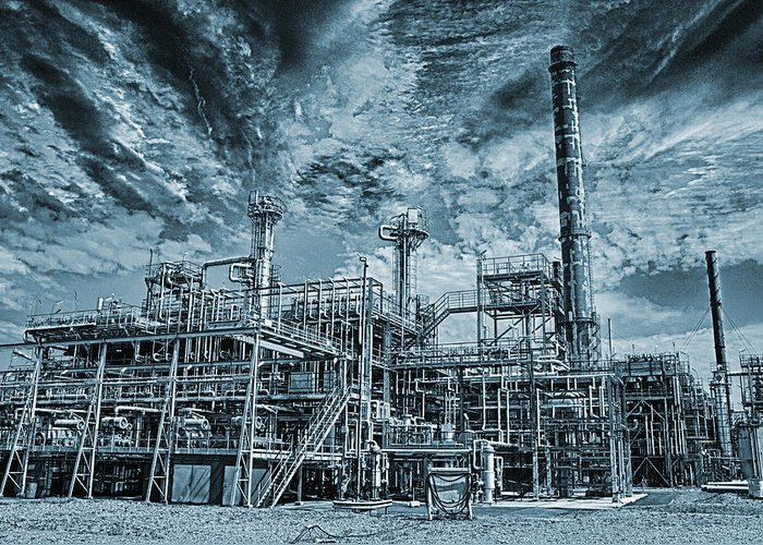 Fuel Greeting Card featuring the photograph Oil Refinery In High Definition by Christian Lagereek