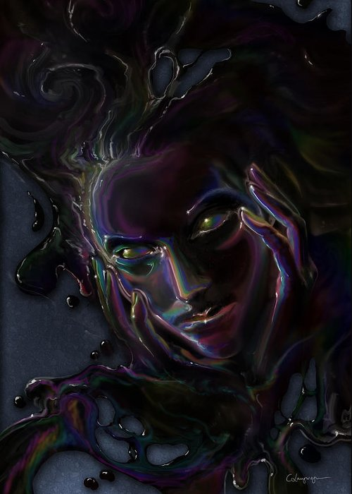 Fantasy Greeting Card featuring the digital art Oil Spill by Cassiopeia Art