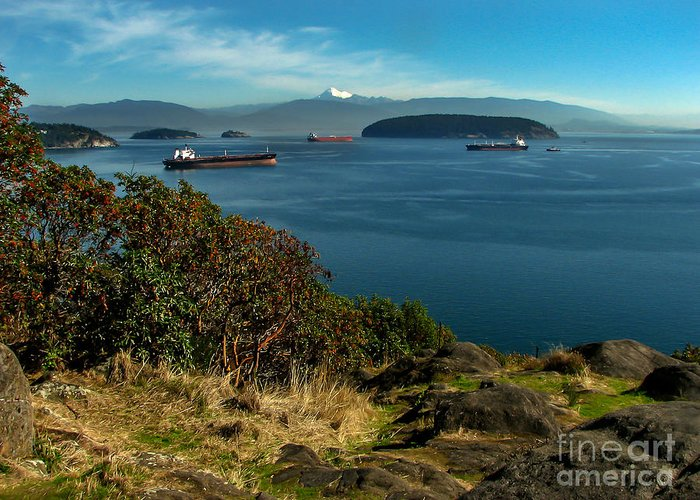Anacortes Greeting Card featuring the photograph Oil Tankers Waiting by Robert Bales