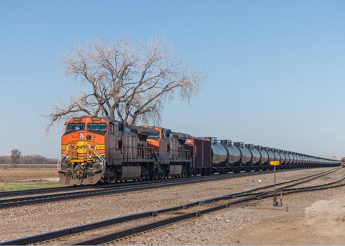 Bnsf Greeting Card featuring the photograph Bnsf Oil Train In Dilworth Minnesota by Steve Boyko