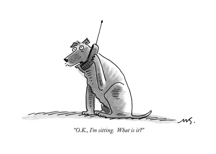 (dog Talking On Cell Phone.) Greeting Card featuring the drawing O.k., I'm Sitting. What Is It? by Mick Stevens
