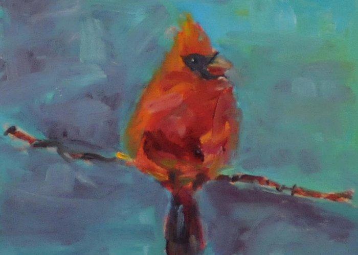 Bird Greeting Card featuring the painting Oklahoma Cardinal by Susie Jernigan