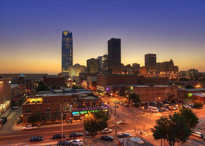 Okc Greeting Card featuring the photograph Oklahoma City Nights by Ricky Barnard