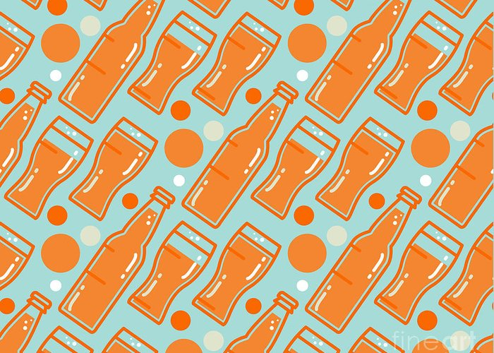 Tablecloth Greeting Card featuring the digital art Oktoberfest Seamless Pattern. Beer by Barsrsind