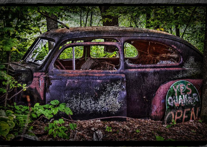 Old Car Greeting Card featuring the photograph Old Abandoned Car In The Woods by Paul Freidlund