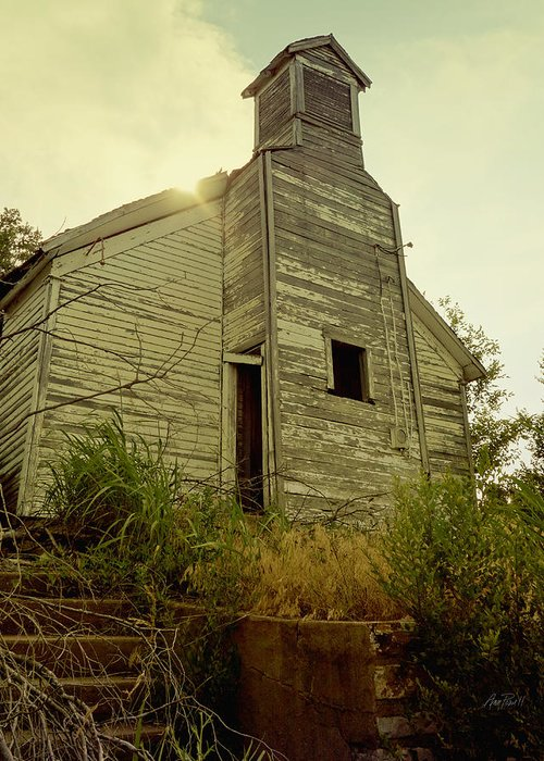 Weathered Greeting Card featuring the photograph Old Abandoned Country School by Ann Powell