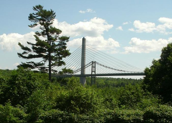 Penobscot River Greeting Card featuring the photograph Old And New Bridges Over Penobscot by David Fiske