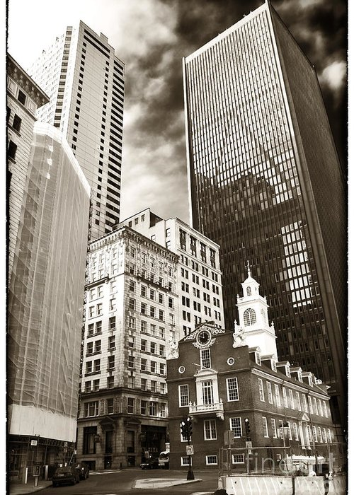 Old And New In Boston Greeting Card featuring the photograph Old And New In Boston by John Rizzuto