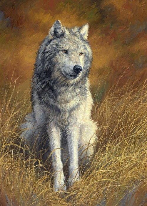 Wolf Greeting Card featuring the painting Old and Wise by Lucie Bilodeau