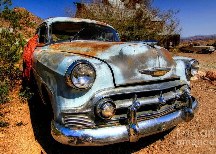 Blue Greeting Card featuring the photograph Old Baby Blue Chevy by Brenda Giasson