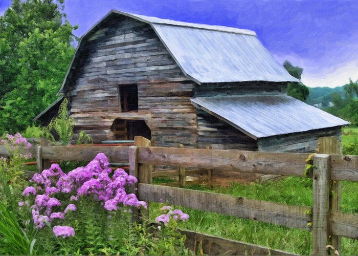 Kenny Francis Greeting Card featuring the photograph Old Barn And Flowers by Kenny Francis
