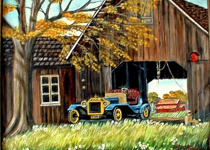 Old Barn Car Greeting Card featuring the painting Old Barn And Old Car by Kenneth LePoidevin