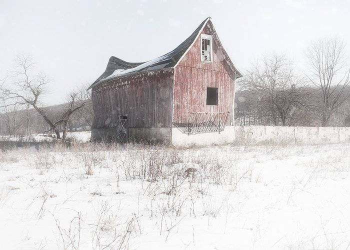 Old Barn Greeting Card featuring the photograph Old Barn - Brokeback Shack by Gary Heller