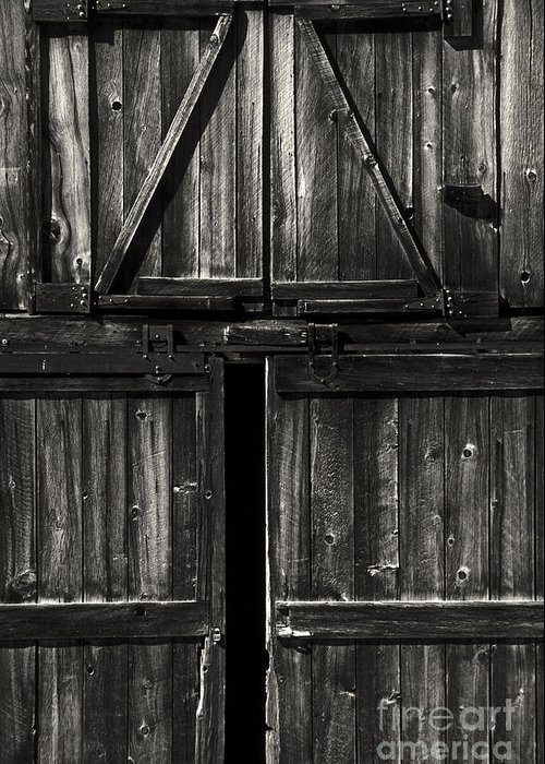 Barn Greeting Card featuring the photograph Old Barn Door - Bw by Paul W Faust - Impressions of Light