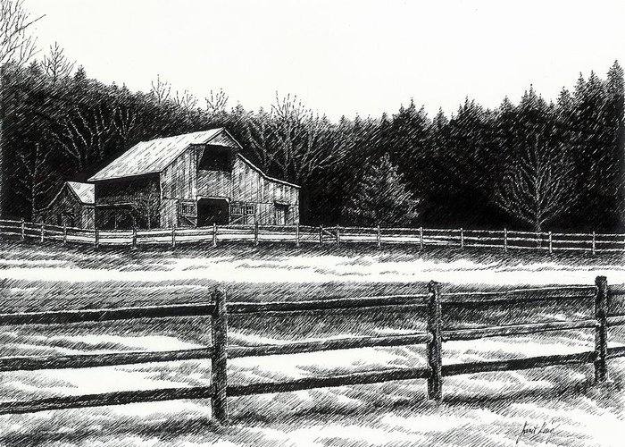 Old Barn Greeting Card featuring the drawing Old Barn In Franklin Tennessee by Janet King