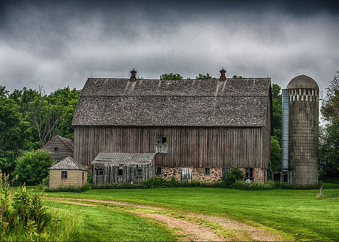 Barn Greeting Card featuring the photograph Old Barn On A Stormy Day by Paul Freidlund