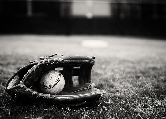 Baseball Greeting Card featuring the photograph Old Baseball And Glove On Field by Danny Hooks