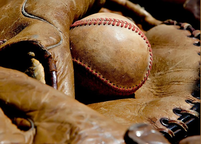 American Greeting Card featuring the photograph Old Baseball Ball And Gloves by Art Block Collections